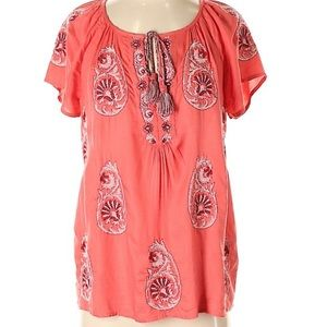 Lucky Brand Paisley Short Sleeve Peasant Blouse